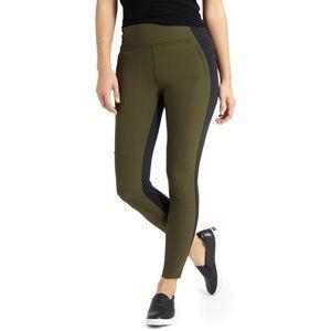 Athleta Highline Hybrid Green Black Ankle Tights
